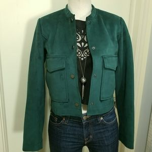 Atmosphere Forest Green Faux Suede Cropped Jacket